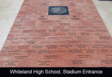Whiteland High School football stadium entrance monogrammed clay pavers