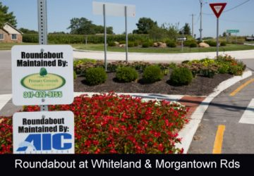 Roundabout located at Whiteland Road and Morgantown Road in Bargersville